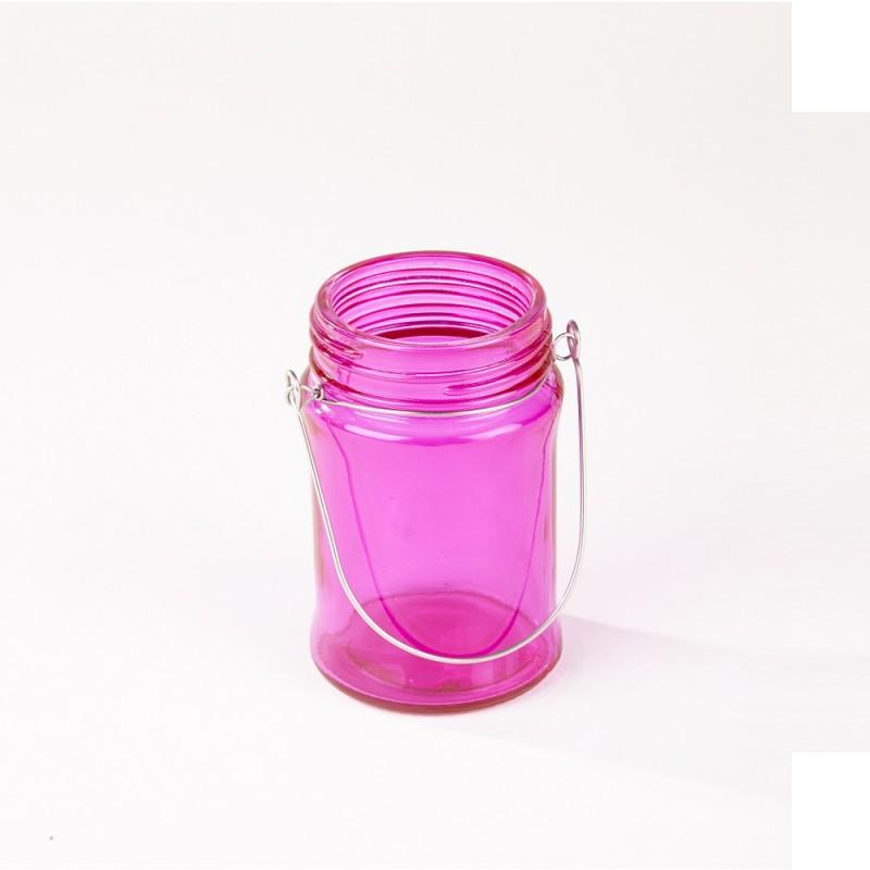 Hanging Glass Lantern   Pink  10.5cm x 6.7cm