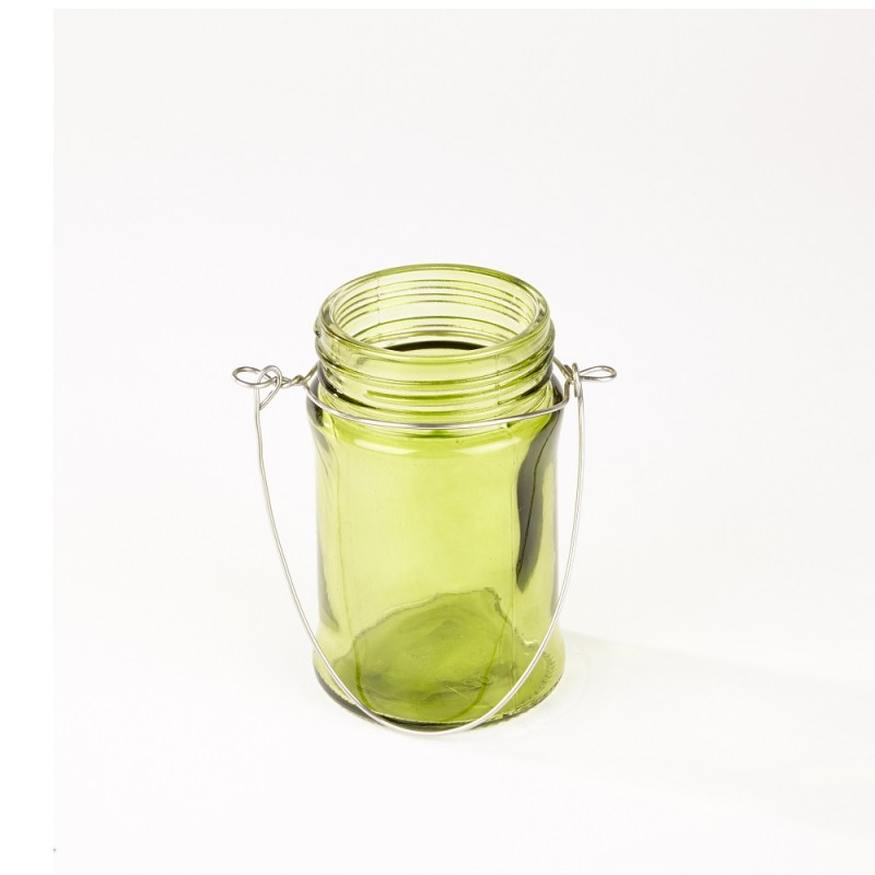 Hanging Glass Lantern   Green  10.5cm x 6.7cm