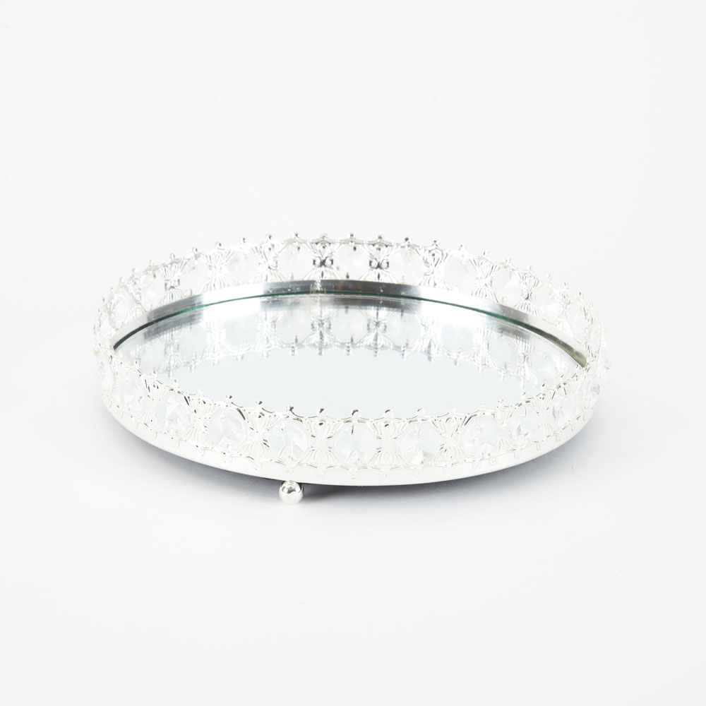 Silver  & Crystal Tray  30cm x 30cm x 7.5cm