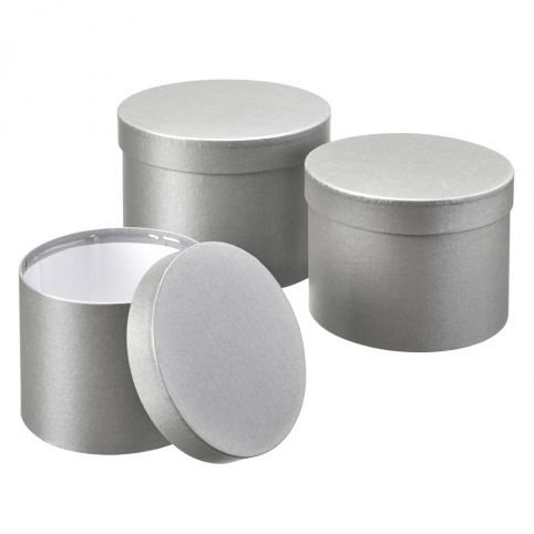 Symphony Chrome Grey Lined Hat Boxes (Set of 3)