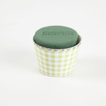 OASIS® Ideal Floral Foam Maxlife Cupcakes - Green Gingham - 8cm (Pack of 6)