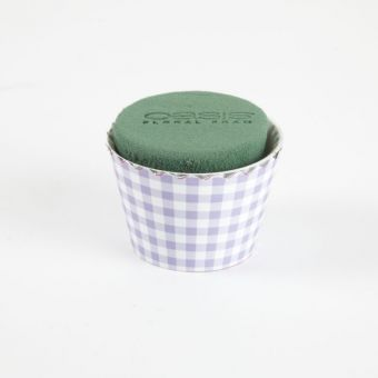 OASIS® Ideal Floral Foam Maxlife Cupcakes - Lilac Gingham - 8cm (Pack of 6)