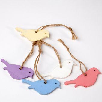 Hanging Woodland Bird - Assorted - 6cm (Pack of 10)