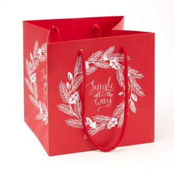 Porto Bag - Wreath - Jingle All The Way - Red/White - 18x20cm (Pack of 10)