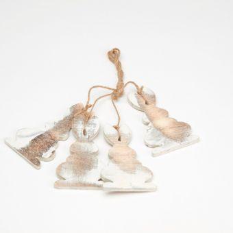 Wooden Rabbit Hanger - White Frost (Pack of 4)