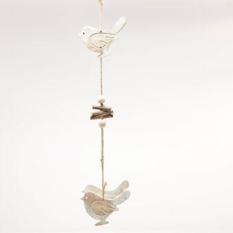 Wooden Bird Garland - White Frost - 50cm