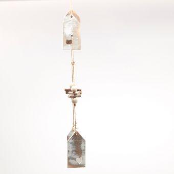 Wooden Birdhouse Garland - White Frost - 50cm
