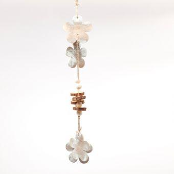 Wooden Flower Garland - White Frost - 50cm