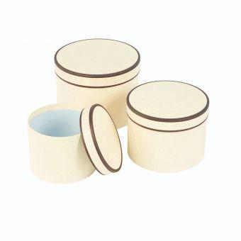 Round Couture Hat Box Cream & Black Piping
