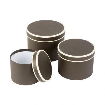 Round Couture Hat Box Black & Cream Piping