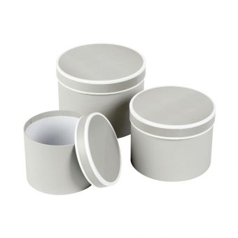 Round Lined Couture Hat Box - Grey & White Piping - 14.7cm/17.5cm/19.7cm (Set of 3)