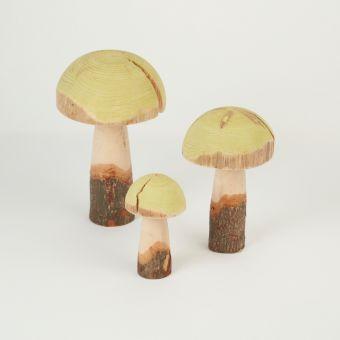 Wooden Green Mushrooms (Set of 3)