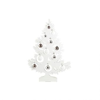 Olympus Tree with Baubles & LED Lights White 80cm