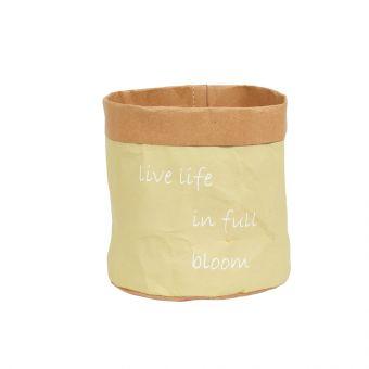 Live Life Yellow Lined Bag 15cm