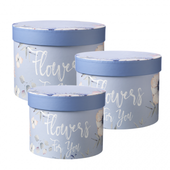 Flowers For You Lined Hat Box (Set of 3) - Blue