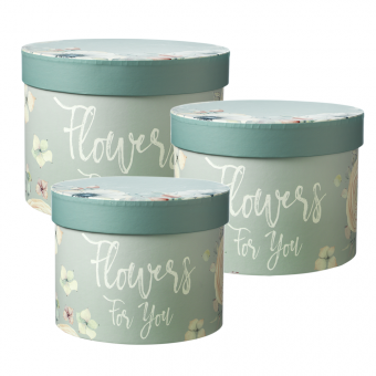 Flowers For You Lined Hat Box (Set of 3) - Mint