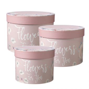 Flowers For You Lined Hat Box (Set of 3) - Pink
