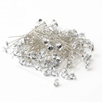 Diamond Heart Pins - Clear - 60 x 10mm (Pack of 100)