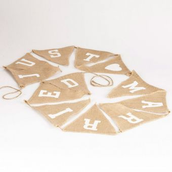 Just Married Burlap Bunting - 18 x 20cm - 12 flags