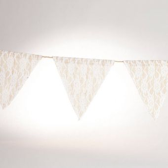 Burlap and Lace Bunting - 19 x 19.5cm - 12 flags