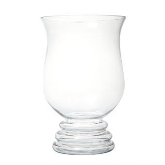 Double Foot Glass Hurricane Vase - 30cm
