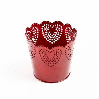 Red Romance Round Tin Pot - 13cm x 11.5cm