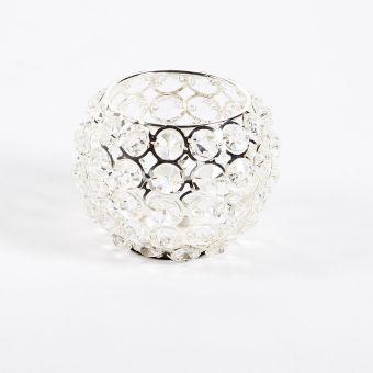 Crystal Bowl - Silver - 13.5cm x 13.5cm x 10cm