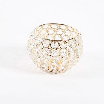 Crystal Bowl - Gold - 13.5cm x 13.5cm x 10cm