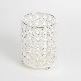 Crystal Cylinder - Silver - 11cm x 11cm x 13.5cm