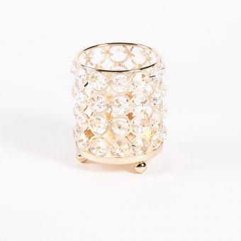Crystal Cylinder - Gold - 11cm x 11cm x 13.5cm