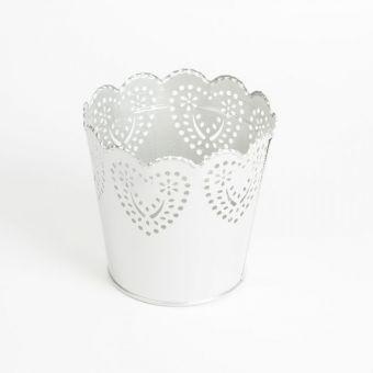 Round Romance Pot - Silver - 13cm x 11.5cm