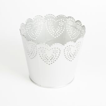 Round Romance Pot - Silver - 17cm x 14cm