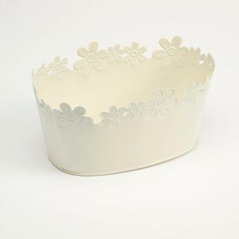 Daisy Tin Oval Trough Lined - Cream - 28cm x 16cm x 11cm