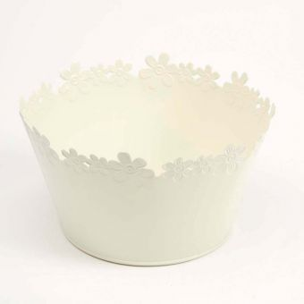 Daisy Tin Round Bowl Lined- Cream - 21cm x 12cm