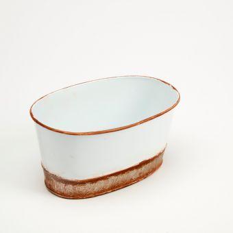 Victorian Tin Oval Trough Lined - White - 18cm x 11.5cm x 8.5cm