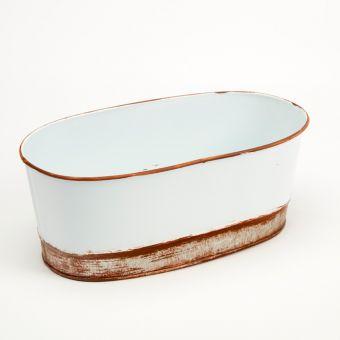 Victorian Tin Oval Trough Lined - White - 28cm x 16cm x 11cm