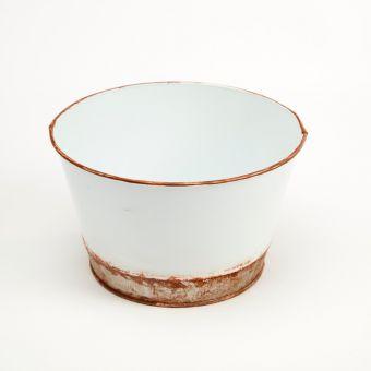 Victorian Tin Round Bowl Lined - White - 18cm x 11cm