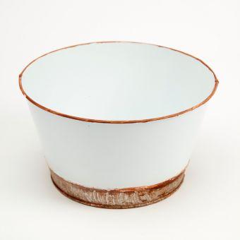 Victorian Tin Round Bowl Lined - White - 21cm x 12cm