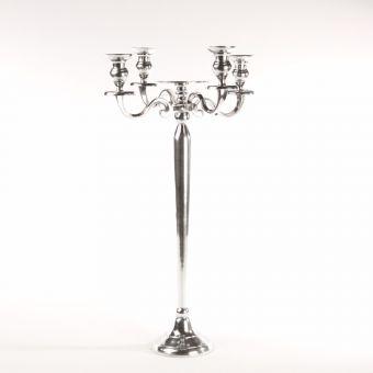 4 Arm Flat Top Shiny Aluminium Candelabra