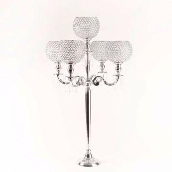 Aluminium Candelabra with 5 Globes & Acrylic Drops - 113cm
