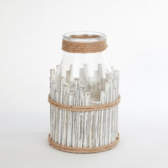 Wood & Glass Lighthouse Hurricane - 30cm