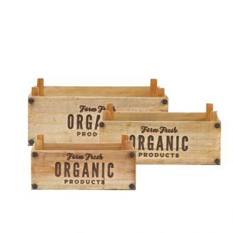 Rectangular Organic Lined Wooden Crates (Set of 3)