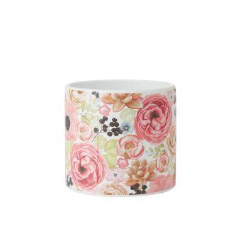 Florals Cylinder Ceramic Pot 13cm