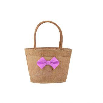 Faith Jute Bag - Pink Bow