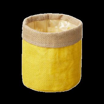 Hessian Lined Bag - Yellow - 13cm