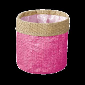 Hessian Lined Bag - Pink - 15cm