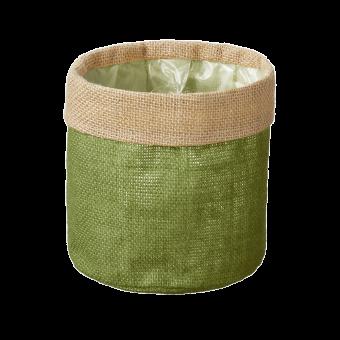 Hessian Lined Bag - Olive Green - 15cm