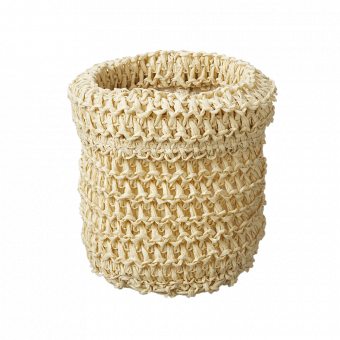 Knitted Lined Bag - Cream - 13cm