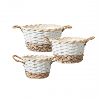 Hawkes Bay Lined Baskets (Set of 3) - Round