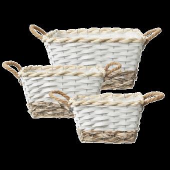 Hawkes Bay Lined Baskets (Set of 3) - Rectangular